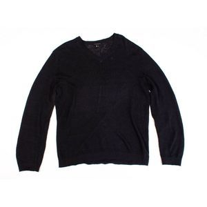 Theory Linen Knit V Neck Pullover Sweater